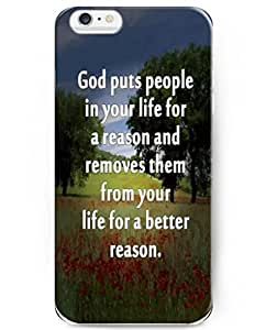 UKASE Back Cover Snap on Case for 5.5 inch iPhone 6 Plus with Inspiration Bible Sayings God Puts People in Your Life for a Reason and Removes Them From Your Life for a Better Reason