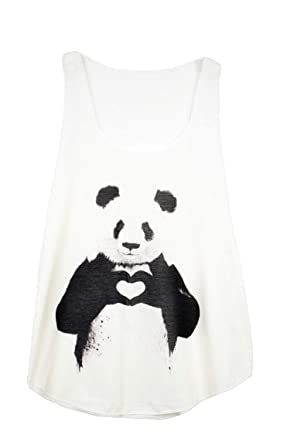 ef7d3c106b9 Image Unavailable. Image not available for. Colour  GL BOUTIK Panda Bear  Love Animal Print Women Ladies Sleeveless Vest Tank-Top Shirt
