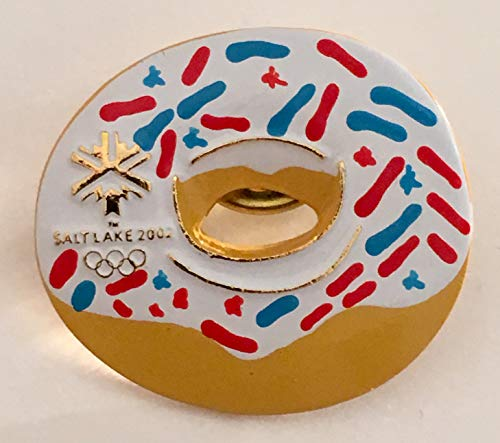 (2002 Salt Lake City Winter Olympics Vanilla Glazed w/Red White & Blue Sprinkles Doughnut Pin )