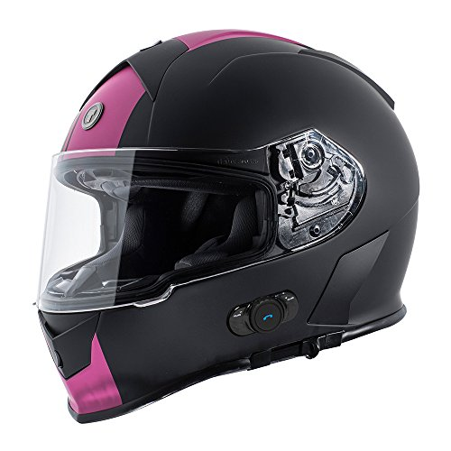 (TORC Unisex Adult T14B Bluetooth Integrated Mako Speed and Style Full Face Motorcycle Helmet (Pink) (Flat Black Small )