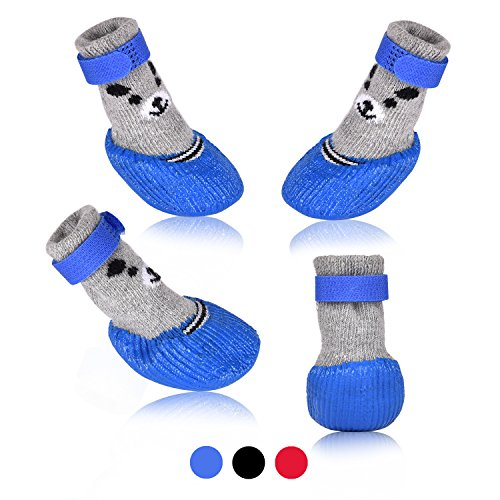 SMARTHING Dog Cat Boots Shoes Socks with Adjustable Waterproof Breathable and Anti-Slip Sole All Weather Protect Paws(Only for Tiny Dog) (S, Blue)