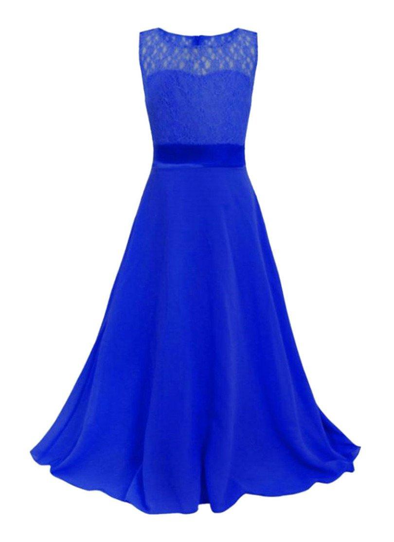 Pandapang Girls Casual Lace Sleeveless Chiffon Swing Pleated Maxi Dress Jewelry Blue 8T