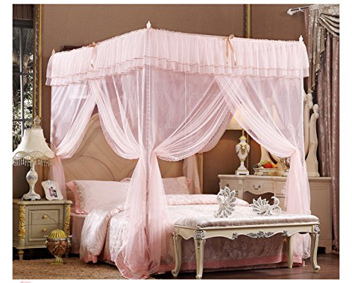 Jade (Light Pink) Four Corner Square Princess Bed Canopy Mosquito Netting (Full /Queen)