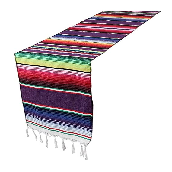 OurWarm 14 x 84 inch Mexican Serape Table Runner for Mexican Party Wedding Decorations, Fringe Cotton Table Runner - Mexican blanket table runner 14 by 84 inch Woven serape table runner is hand woven, cotton and tassel make it unique Mexican table runner make your special moments even more memorable, suitable for Fiesta or Cinco de Mayo celebration, pool party, mexicana party and tribal party - table-runners, kitchen-dining-room-table-linens, kitchen-dining-room - 51pifjE5EzL. SS570  -