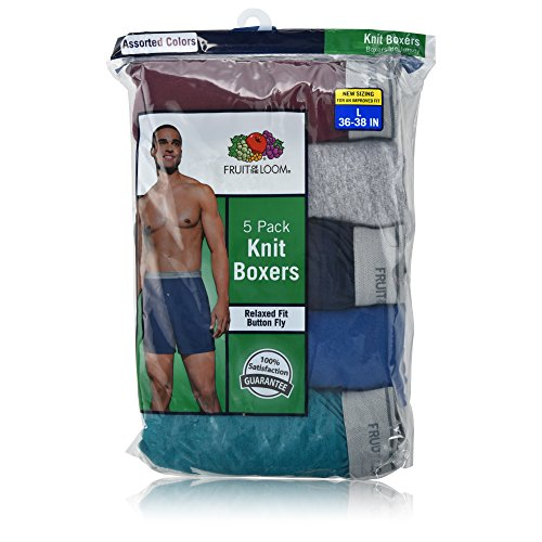 Knit Fruit - Fruit of the Loom Men's 5-Pack Soft Stretch Knit Boxer - Colors May Vary (X-Large, Assorted Color)