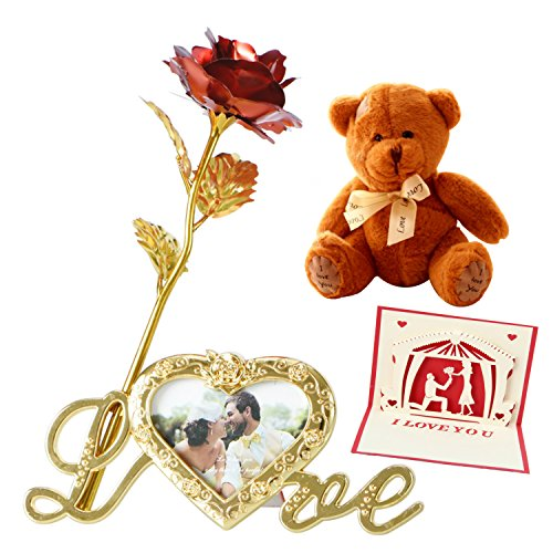 24k Gold Rose and I Love You Teddy Bear for Girlfriend Valentines Day Card Wedding Anniversary Birthday Gift for $<!--$38.95-->