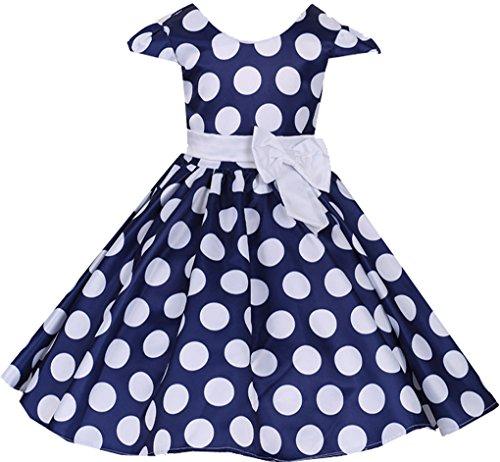 (Shiny Toddler Little Girls Polka Dot Flowers Girl Brithday Party Dress Blue)