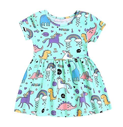 Little Girls Cotton Casual Cartoon Print Short Sleeve Skirt Dresses (Green, 6-7 (Casual Wear For Girls)