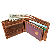 Men's Cow Leather Trifold Wallet With Snap Coin Pocket Genuine Leather Pocket Wallet