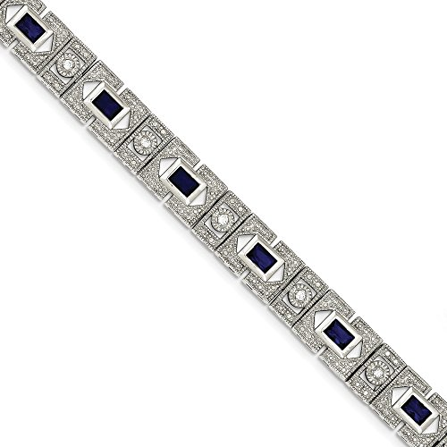 Sterling Silver Blue and Clear CZ Bracelet by CoutureJewelers