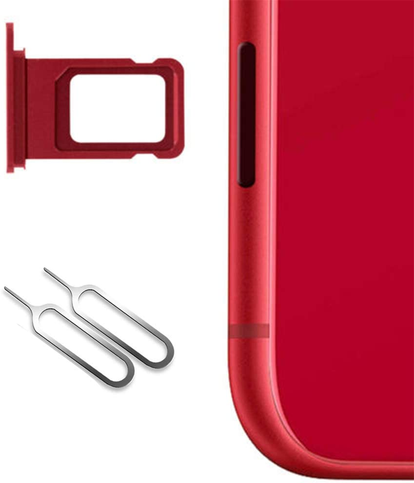 Nano Sim Card Holder for iPhone 11 Replacement (Red),Sim Card Slot Socket Tray Support with 2 Removal Eject Tools.