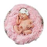 Yingrui Faux Fur Blanket Stuffer Newborn Phottography Backdrop Mongolian Fur Posing Prop Rug Mat (Pink)