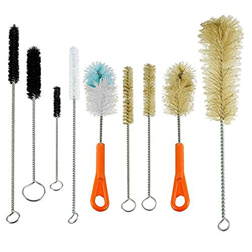 Houseables Bottle Brush & Pipe Cleaner Set, 9 Pieces, Nylon, Natural & Synthetic Bristles, Small, Long, Soft, Stiff, Cleaning Scrubber for Water Tubes, Pipes, Bongs, Beer, Canning Jars, Bird Feeder