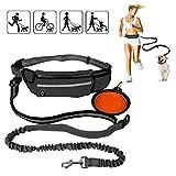 YueseDG Retractable Hands Free Dog Leash for Walking Running Hiking with Pocket–Strong, Durable & Safe–Adjustable Waist Belt–1 Foldable Travel Dog Bowl Included(Black)
