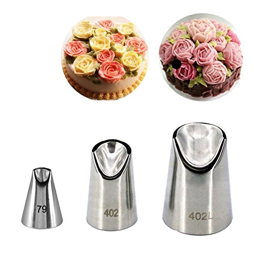 Russian Icing Tips Flower Piping Tips - Stainless Steel Nozzles Pastry 3Pcs/set Cream Cakes Decorating Tips Set Baking Tools Kitchen Bakeware 3 Different Types - Flower Decorating Tips HarvinStore