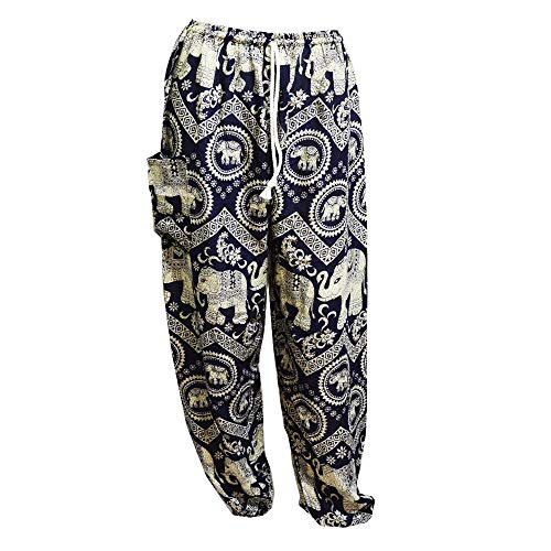 Coulissée Avec Mr Elephant 5 Dark bangkok Taille Blue Harem Aladdin Hippie Pantalon 7wx1fXq0x