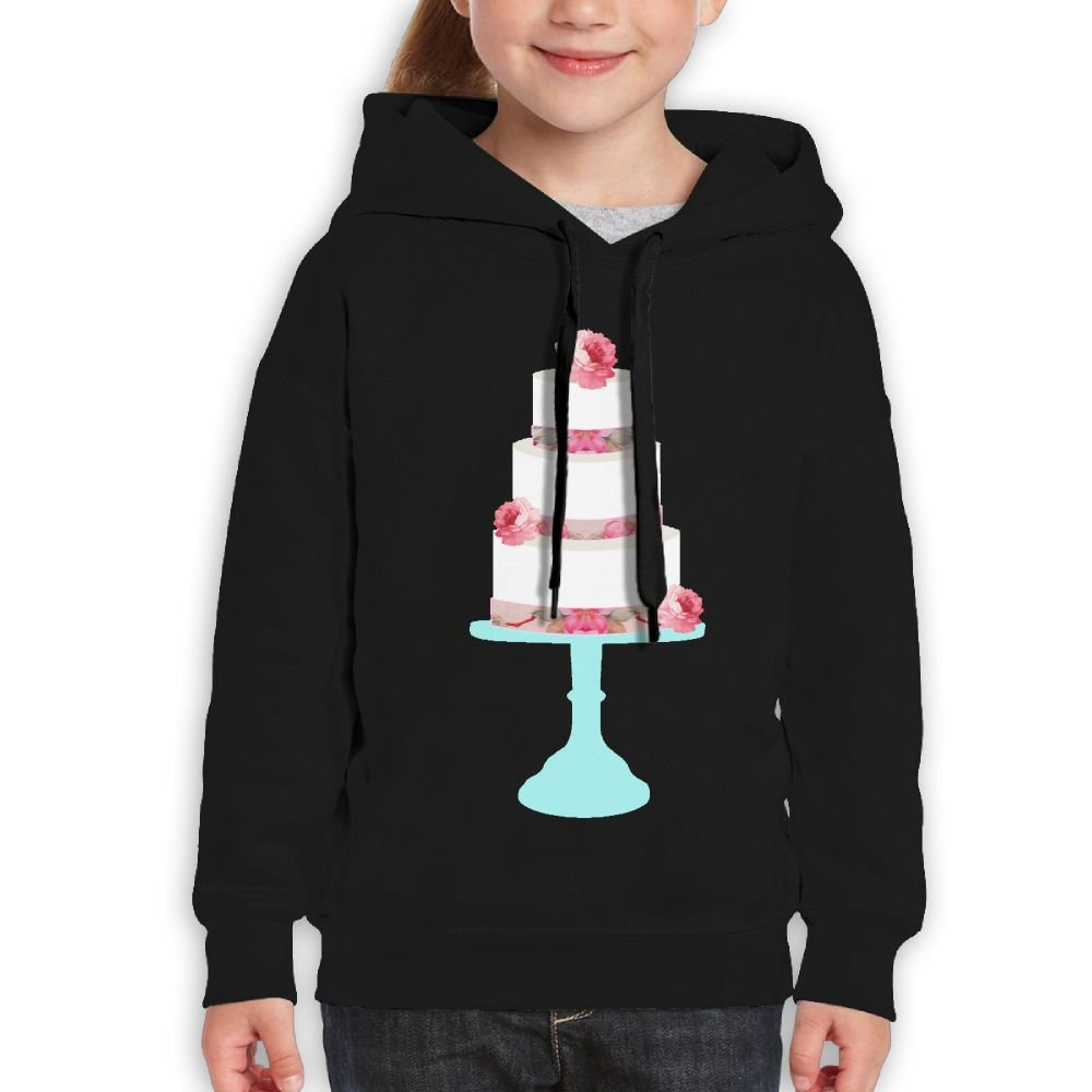 Vintopia Youth Cute Pink Floral Wedding Cake Teal Stand On Pink Classic Running Black Hoodie XL