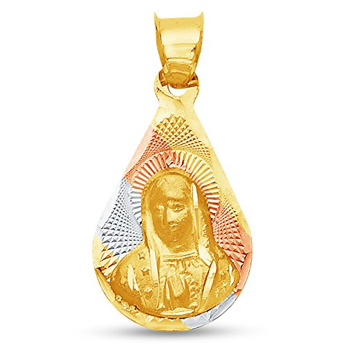 Sonia Jewels 14K Tri 3 Color Gold Diamond-Cut Religious Our Lady of Guadalupe Virgin Mary Charm Pendant (18x12 mm)
