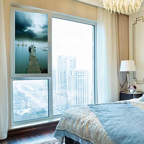(YOLIYANA Non-Toxic Window Film,Landscape,for Indoor & Outdoor Window,Stormy Night Sky Over Lake Port Wooden)