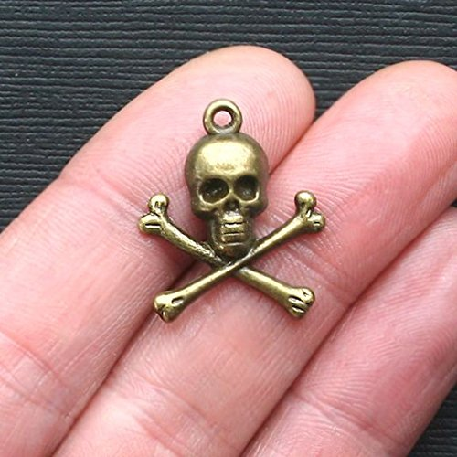 10 Skull and Crossbones Charms Antique Bronze Tone - BC858 Jewelry Making Supply Pendant Bracelet DIY Crafting by Wholesale Charms