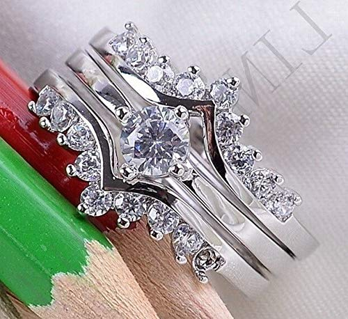 Waldenn Fashion Women Men White Topaz 925 Silver Ring Amethyst Aquamarine Gift Size 6-10   Model RNG - 14134   ()