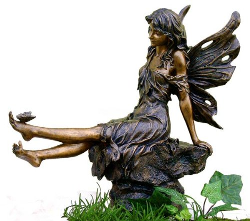 Fairy & Butterfly Garden Statue Antique Copper Finish, 14-inch