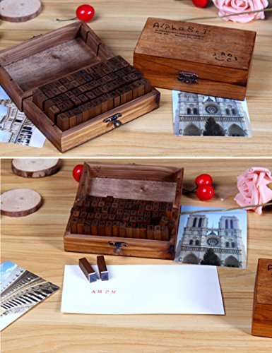 UCEC 70pcs Alphabet Stamps Vintage Wooden Rubber Letter Number and Symbol Stamp Set for DIY Craft Card Making Happy Planner Scrapbooking Supplies