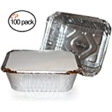 TigerChef 00542-00582@100PK Durable Aluminum Oblong Foil Pan Containers with Board Lids, 1 lb. Capacity, Foil Take-Out Pans with lids, 5.56'' x 4.56'' x 1.63'' (Pack of 100)…