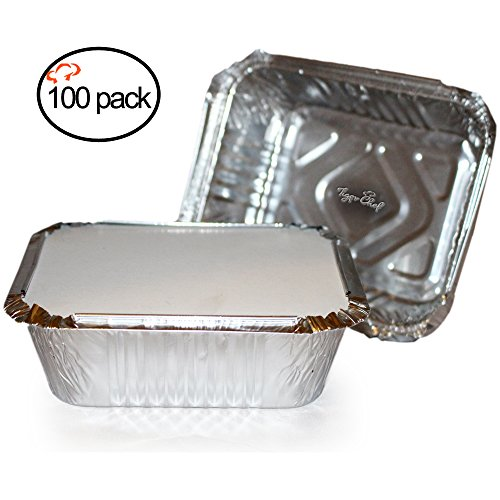 (TigerChef 00542-00582@100PK Durable Aluminum Oblong Foil Pan Containers with Board Lids, 1 lb. Capacity, Foil Take-Out Pans with lids, 5.56