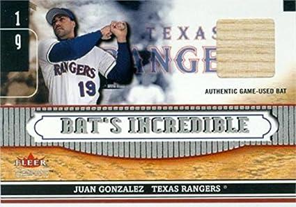 Juan Gonzalez Player Used Bat Patch Baseball Card Texas