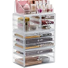 Sorbus Cosmetic Makeup and Jewelry Storage Case Display Organizer - Spacious Design - Great for Bathroom, Dresser, Vanity and Countertop (X-Large)