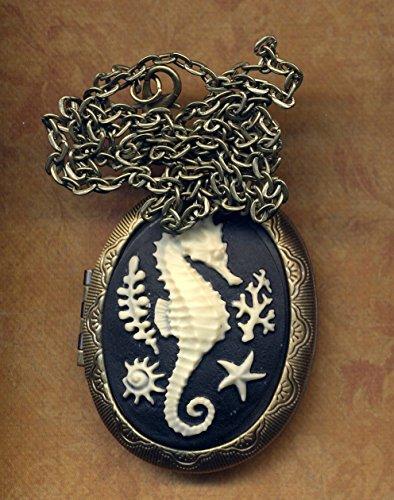 Seahorse Locket Necklace, Cameo Sea Creature Long Necklace, Big statement Locket Necklace, Nature Inspired Pill Box vintage style locket Necklace