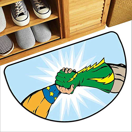 DILITECK Modern Door mat Superhero Heroes Handshake Teamwork Togetherness Friendship Partners Success Artful Concept Quick and Easy to Clean W24 xL16 Multicolor