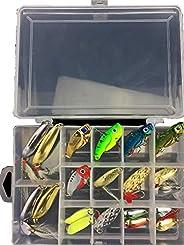 RoseFlower Mixed Fishing Lures, kit of Hard Lure Minnow Popper Crankbaits VIB Spoons, Life-Like Fishing Bait,