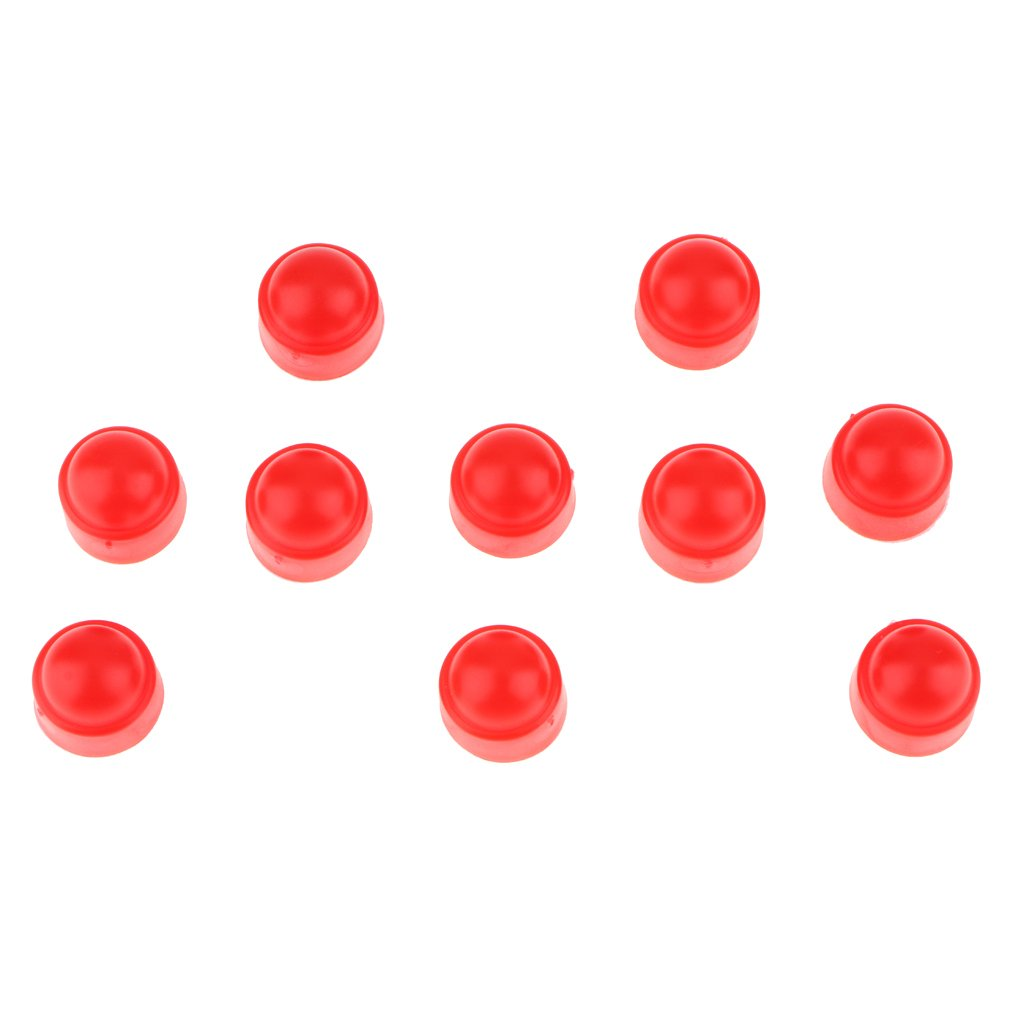 Baoblaze 10 Pieces Durable Plastic Hex Nut Caps Protection Dome Cover Red - Protects Your Nut - Red, M8 13 x 15mm