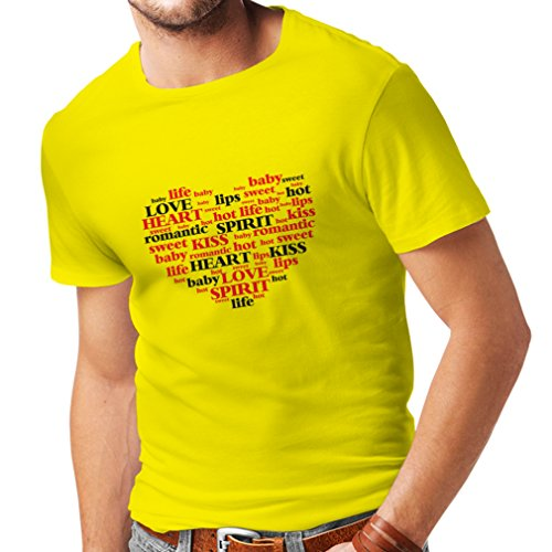 lepni.me T Shirts For Men I Love You Quotes,Valentine Day Gift (X-Large Yellow Multi Color) (Valentine Day Gift Ideas For Kindergarteners)