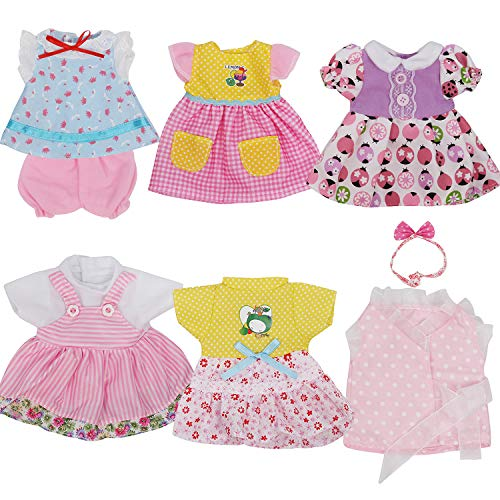 JING SHOW BUSSINESS Pack of 6 Fit 12 Inch Alive Baby Doll Gown Dress Clothes Fashionista Outfits Include Hair Band Girls American Doll