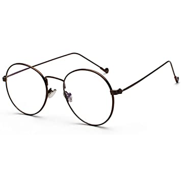 5129fd03450d Fashion Trend Round Clear Lens Glasses Block Blue Light Metal Frame Gold  Silver Black Lightweight Eyewear Vintage  Amazon.co.uk  Health   Personal  Care
