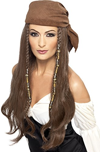 [Smiffy's Women's Brown Pirate Wig, Bandana with Beads and Charms, One Size,5020570213988] (Halloween Pirate Woman Costumes)