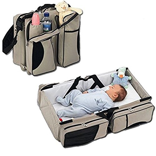 Learn More About 3 in 1 Diaper Bags Portable Crib Changing Station & Travel Bassinet Baby Travel Bed...