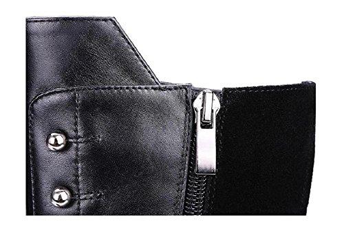 Cerniera laterale Stivali equitazione piane camoscio femminile mucca 34 della scarpe da 35 in slip Frndqr