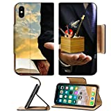 Liili Premium Apple iPhone X Flip Pu Leather Wallet Case Music college examination concept Music instrument box in the teacher hand Photo 18152118 Simple Snap Carrying
