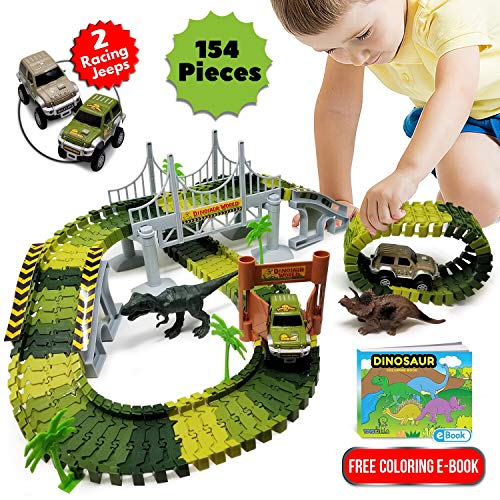 Dinosaur Toys Race Car Track Playset - Train Track for Boys Age 3, 4, 5, 6 year old & Up - 154pcs | Includes 2 Dinosaurs + 2 Toy Race Cars | Jurassic World Park for Kids | Free Toddlers Coloring eBook