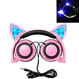 Cat Ear Headphones, Kids Headphones Flashing Blinking Glowing Cosplay Fancy Foldable Over-Ear Gaming Headsets with LED Light for Girls, Children, Compatible for iPhone 6S, Android Phone, PC (Pink) For Sale