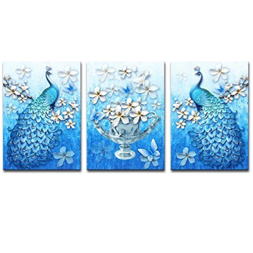 k Animal Canvas Wall Art Abstract Plum Blossom Carving Art Painting Vivid Color Picture Stretched Artwork for Home Office Decoration 3 Panels (50x70cmx3pcs) ()