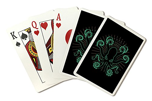 (Puget Sound, Washington - Neon Octopus (Playing Card Deck - 52 Card Poker Size with Jokers))