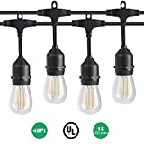 Outdoor Dimmable LED String Lights with 48 Feet, 15 Hanging Sockets, UL certified E492224, 2W Edison bulbs and Weatherproof Heavy-duty String Lamps for Patio, Porch.