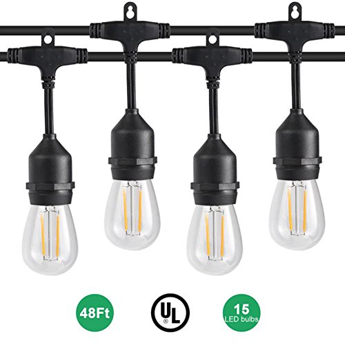 - GordonChann Outdoor Dimmable LED String Lights with 48 Feet, 15 Hanging Sockets, UL certified E492224, 2W Edison bulbs and Weatherproof Heavy-duty String Lamps for Patio, Porch.