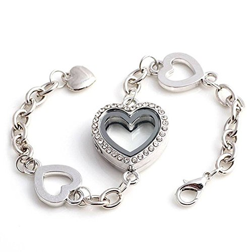 - patcharin shop Heart Floating Locket Chain Bracelet Fashion Women Jewelry Gift Sale Color Silver