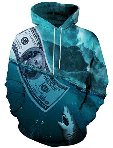 ed Sweatshirts Pullover Hoodie US Dollars Pattern Print Outwear XX-Large ()